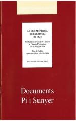 2. La Llei municipal de Catalunya de 1934. Conferència de Carles Pi i Sunyer al Palau de Projeccions, 11 de març de 1934. Text de la Llei aprovat el 19 de juliol de 1934