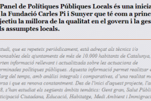 Convocatòria específica per a l'atorgament de beques de col·laboració en la recerca per a l'equip d'investigadors del Panel de Polítiques Públiques de la Fundació Carles Pi i Sunyer