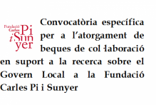 Convocatòria específica per a l'atorgament d'una beca de col·laboració en suport a la recerca
