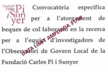 Convocatòria específica per a l'atorgament de beques de col·laboració en la recerca per a l'equip d'investigadors de l'Observatori de Govern Local de la Fundació Carles Pi i Sunyer